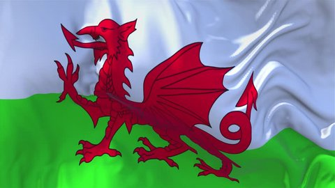 298. Wales Flag Waving in Wind Slow Motion Animation . 4K Realistic Fabric Texture Flag Smooth Blowing on a windy day Continuous Seamless Loop Background.