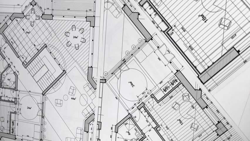 Blueprints: architectural drawings - architectural plan of a modern house / smoothly rotate / seamless looping | Shutterstock HD Video #1015898758