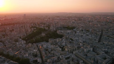 Aerial France Paris Sacre Coeur Basilica August 2018 Sunset 30mm 4K Inspire 2 Prores  Aerial video of the Sacre Coeur Basilica in Paris France with a beautiful sunset.