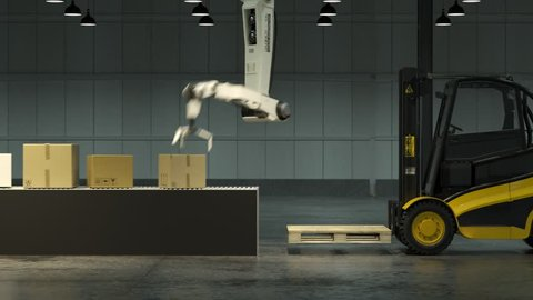 Modern, advanced, robot arm loading and stacking cargo boxes from the line onto a forklift inside a vast warehouse. Fast, slick and efficient and sophisticated piece of technology working effortless.