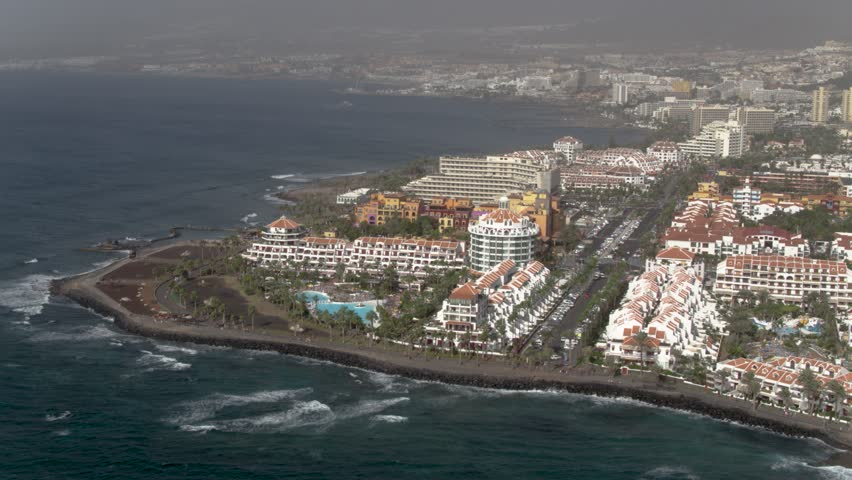 Aerial View of Costa Adeje, Las Galletas, Los Christianos, Tenerife, Spain