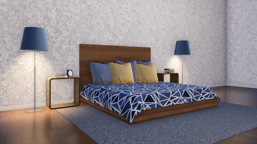 Simple minimalist symmetrically arranged bedroom interior design with modern double bed, bedside table and floor lamp on empty white rough textured stucco wall background. 3D animation rendered in 4K
