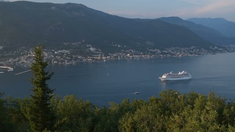 "accelerated clip - the beauty of the ""Bay of Kotor"" and the leaving cruise ship, (""Boka Kotorska""), Montenegro"