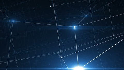 Beautiful Moving Glowing Signals Inside Growing Network. Abstract Net of Lines and Dots with Flying Flares Blue Color. Looped 3d Animation Business and Technology Concept.