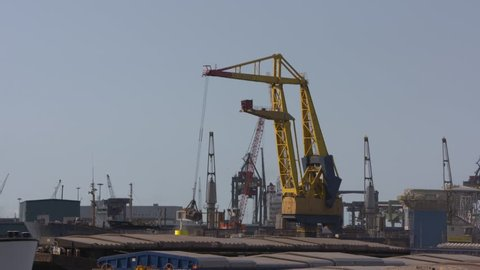 ROTTERDAM SEAPORT, WAALHAVEN  - AUGUST 2018: Bulk handling at Rotterdam seaport, Waalhaven.