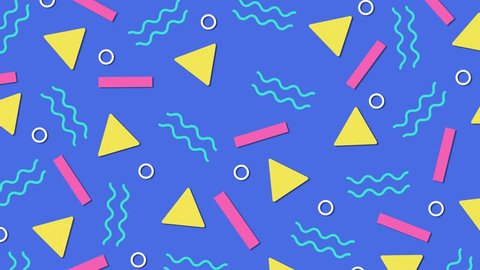 Retro abstract 80's 90's design pattern background  memphis style with  geometrical shapes of different vintage colors  seamless 4k pop art design