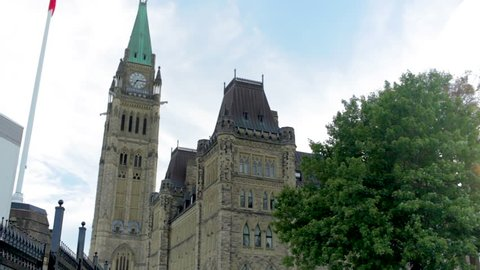 Ontario, Ottawa / Canada - 07 12 2018: Clock tower from the Parliament Building in Ottawa, Canada.
