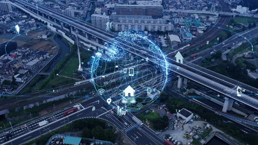 "Social infrastructure and communication technology. IoT(Internet of Things). Autonomous transportation. / Japanese translation ""CAUTION"",""STOP"". 