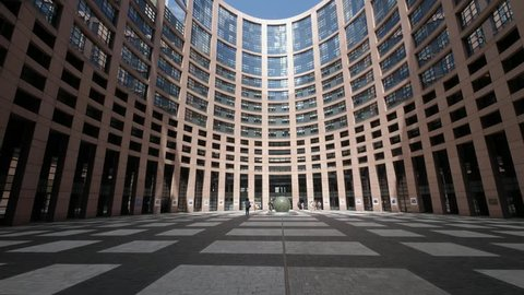 Strasbourg France August 2018 European Parliament Strasbourg Inner Court. Completed in 1999 This is the courtyard to access the inside of the european parliament where meeting sessions take place.