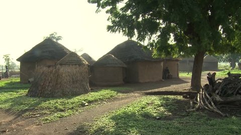 African village of huts and earth house.