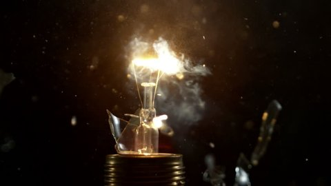 Super slow motion shot of bulb explosion, shooted with high speed cinema camera at 2000 fps.