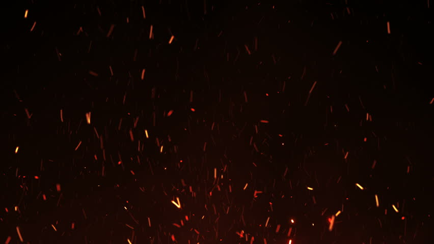 Beautiful Burning Hot Sparks Rising from Large Fire in Night Sky. Abstract Isolated Fire Glowing Particles on Black Background Flying Up. Looped 3d Animation. Moving Up. 4k Ultra HD 3840x2160.