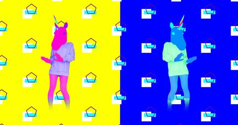 Minimal motion design. Dancing Unicorn in colorful world