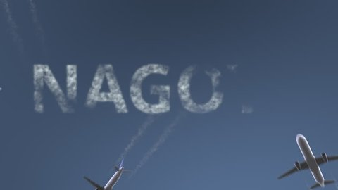 Flying airplanes reveal Nagoya caption. Traveling to Japan conceptual intro animation