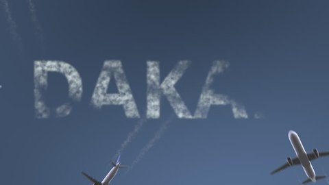 Flying airplanes reveal Dakar caption. Traveling to Senegal conceptual intro animation