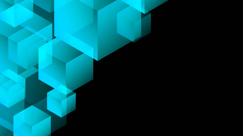 Abstract transparent 3D isometric virtual cube box moving pattern illustration blue color on black background seamless looping animation 4K, with copy space