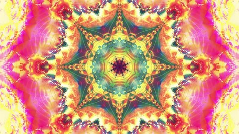 Red kaleidoscope sequence patterns. 4k Abstract multicolored motion graphics background.