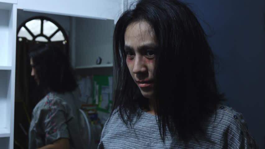Women makeup ghost face in halloween festival,Halloween themes | Shutterstock HD Video #1016285788