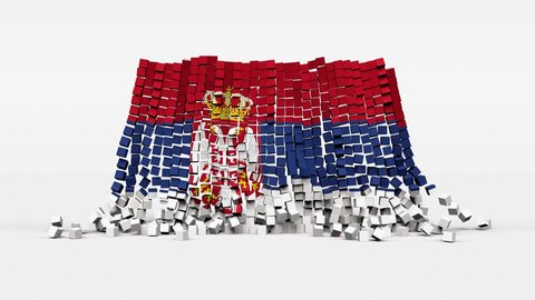 Flag of Serbia created from 3d cubes in slow motion