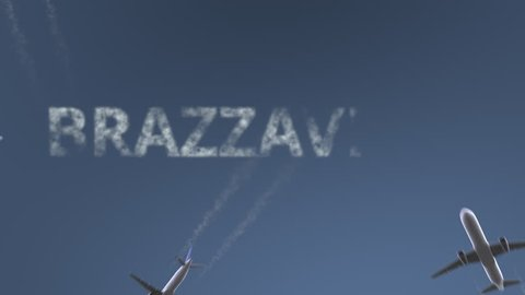 Flying airplanes reveal Brazzaville caption. Traveling to Republic of the Congo conceptual intro animation