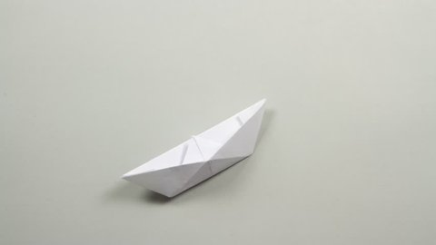 origami paper boat stop motion animation transition