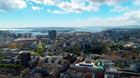 Downtown Oslo,  Norway,  Aerial View of the City