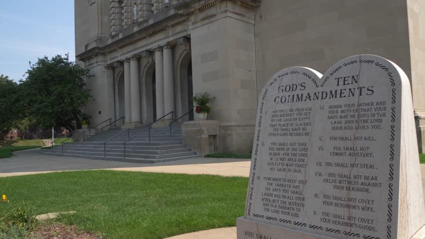 Omaha, Nebraska - Circa 2018 - Ten Commandments Tablet in front of the St Cecilia Church Dolly Move