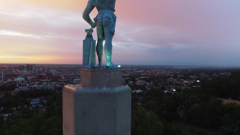 Drone Shot of Vulcan Statue During Sunset