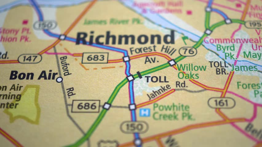 Richmond On Usa Road Map, Stock Footage Video (100% Royalty ...
