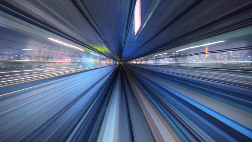 4K Time lapse of automatic train moving with motion blur, Tokyo, Japan  #1016501098