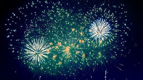 Dazzling fireworks are radiating the night skyline