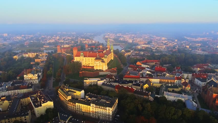 Krakow, Poland. Wawel royal Castle and Cathedral, Vistula River. | Shutterstock HD Video #1016525728
