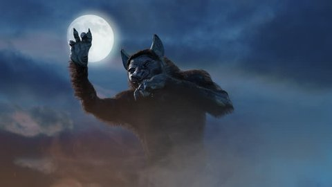 man turns into a werewolf on a dark background 3D render