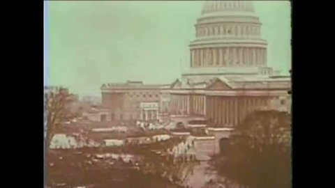 CIRCA 1920s, 1930s - President Hoover and FDR are seen on their inauguration days; FDR's oath is heard (narrated by James Cagney in 1965).