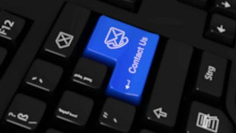 Contact Us Rotation Motion On Blue Enter Button On Modern Computer Keyboard with Text and icon Labeled. Selected Focus Key is Pressing Animation.