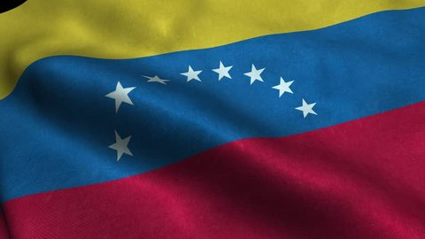 Photorealistic 4k Close up of venezuela flag slow waving with visible wrinkles and realistic fabric. 15 seconds 4K, Ultra HD resolution venezuela flag animation.