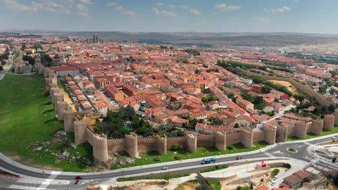 Aerial shot of Avila, Castilla y Leon, Spain. 4K