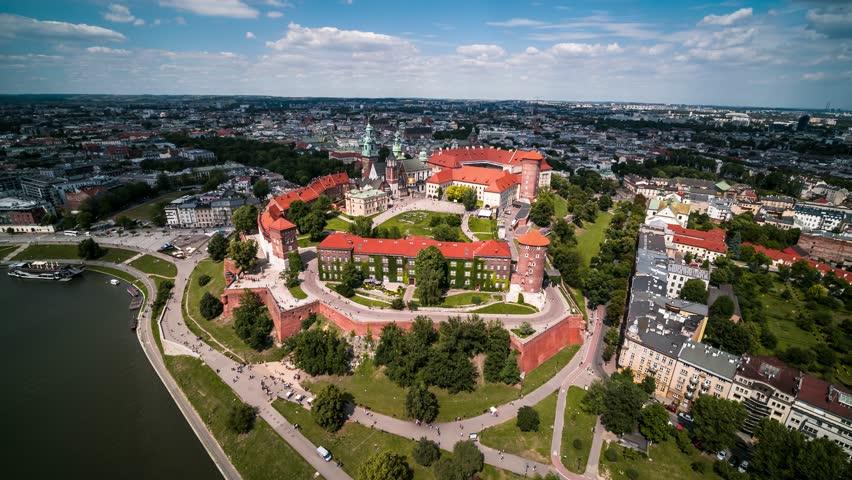 Aerial View of Krakow, Wawel, Royal Castle, Cracow, Poland, Polska | Shutterstock HD Video #1016559298