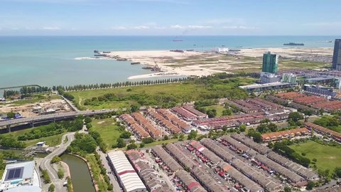 Aerial Shot of land reclaimation, Malacca City,Malaysia