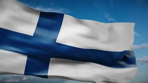 Finland flag waving realistic animation. Seamless Loop. 4K. Check my profile for other flags.