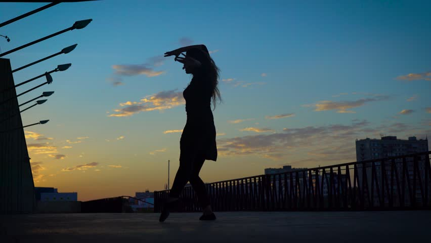 Silhouette of a lovely active girl dancing jazz modern in summer evening. | Shutterstock HD Video #1016607448