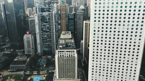 Central, Hong Kong - September 20, 2018 : Aerial view of Central - The heart of financial and business in Hong Kong. Footage with cinematic color graded.