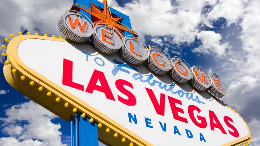Welcome to Las Vegas, street sign in blue sky with time lapse clouds. HD Version | Shutterstock HD Video #101668