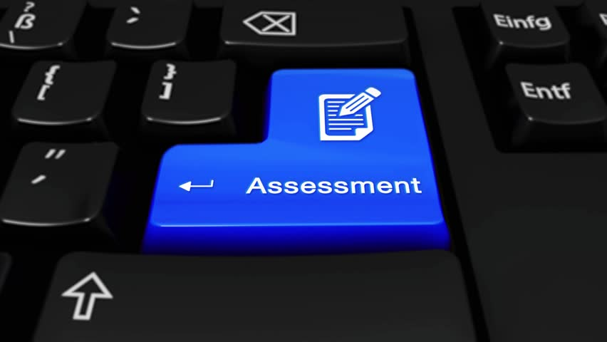 421. Assessment Round Motion On Blue Enter Button On Modern Computer Keyboard with Text and icon Labeled. Selected Focus Key is Pressing Animation. Business Management Concept