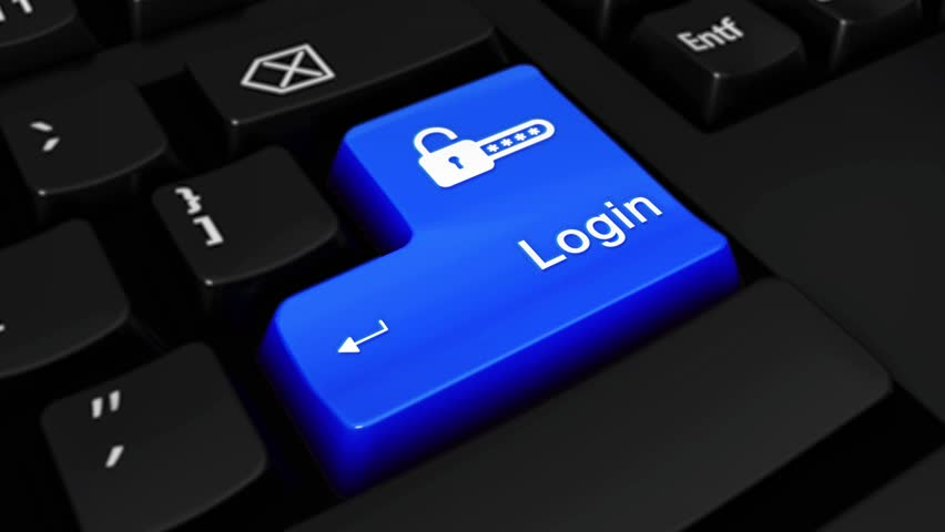 Login Round Motion On Blue Enter Button On Modern Computer Keyboard with Text and icon Labeled. Selected Focus Key is Pressing Animation. Website Development Concept | Shutterstock HD Video #1016700238