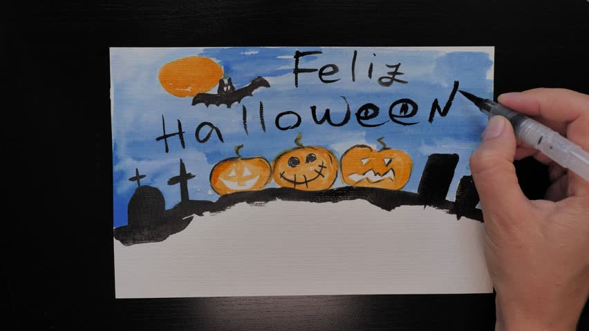 Feliz Halloween. Halloween different colors picture drawing with wishes of ¨Happy Halloween¨ in Spanish Language