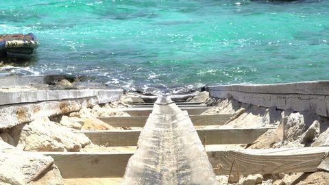 Formentera Island Ibiza. Balearic Pier Little BoatsFisherman House.