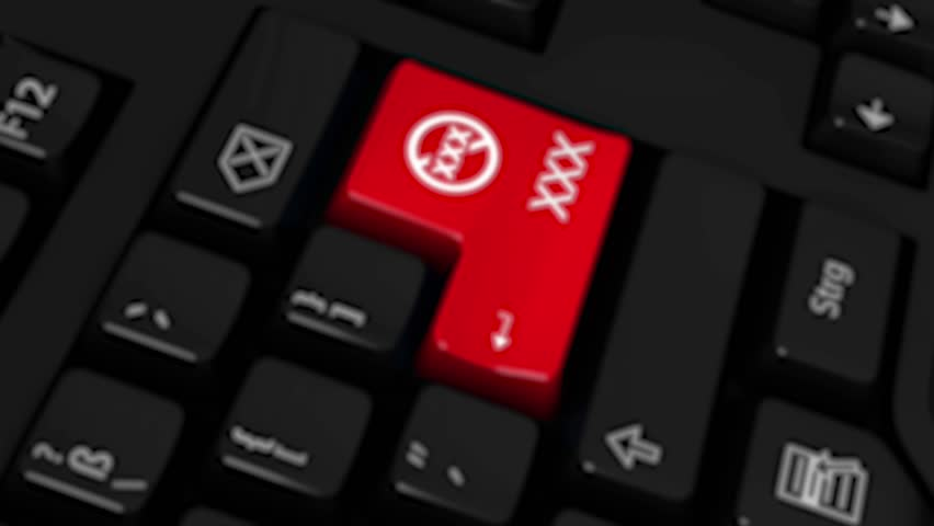 XXX Rotation Motion On Red Enter Button On Modern Computer Keyboard with Text and icon Labeled. Selected Focus Key is Pressing Animation.