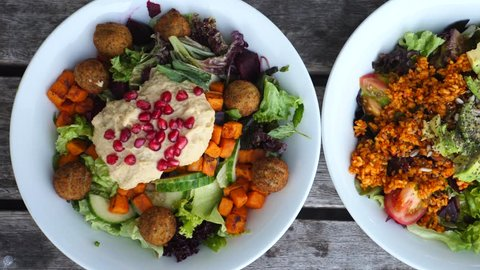 Closeup Of Healthy Organic Vegan Salads With Superfoods.