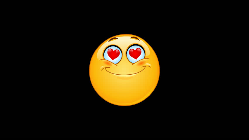 Animation of an in love emoticon face with hearts instead of eyes including alpha channel